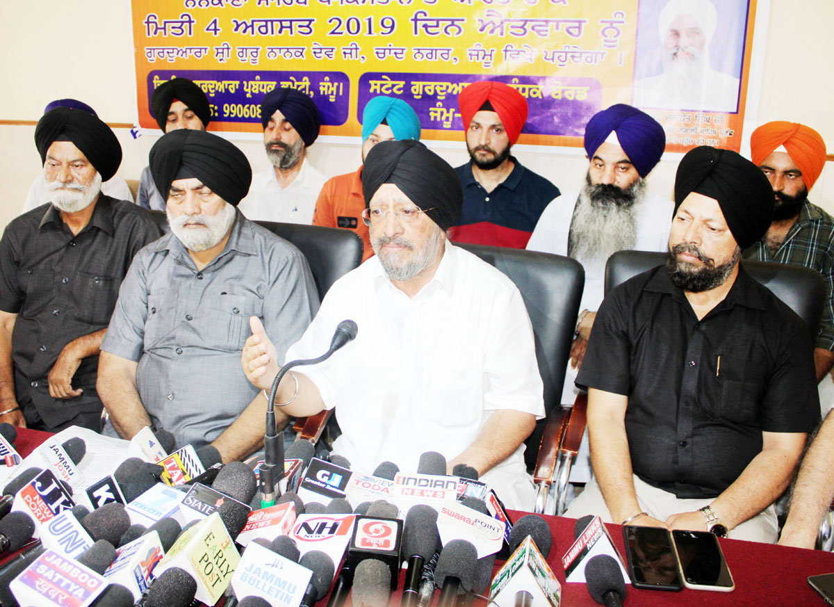 SGPB chairman TS Wazir addressing press conference in Jammu on Friday. -Excelsior/Rakesh