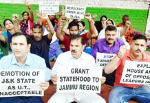 NPP activists staging protest in Delhi.