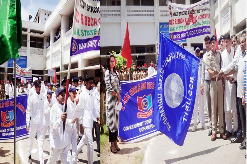 DIG Sujit Kumar flagging off anti-drug rally at GDC Udhampur on Wednesday.