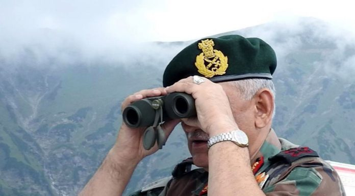General Bipin Rawat, Chief of Army Staff (COAS) on Saturday looks across LoC into PoK in Poonch sector. (UNI)