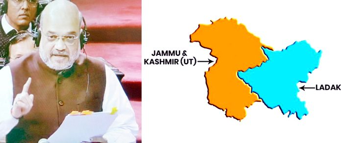 TV grab shows Union Home Minister Amit Shah speaking in Rajya Sabha on Article 370 on Monday (left) and a map shows bifurcation of J&K into two UTs (right).