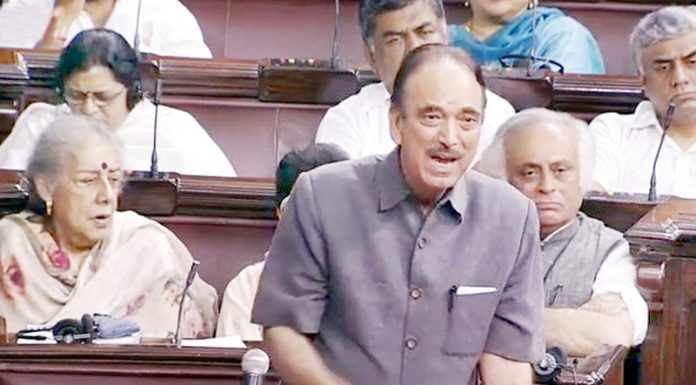 Leader of Opposition in Rajya Sabha Ghulam Nabi Azad speaking in the House on Monday.