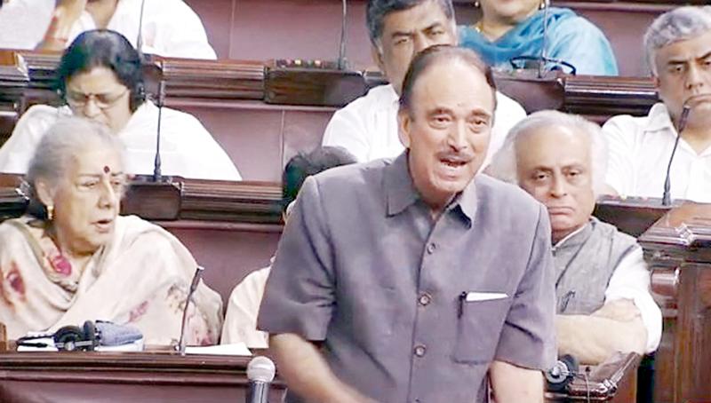 Leader of Opposition in Rajya Sabha Ghulam Nabi Azad speaking in the House on Monday.