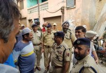 DGP Dilbag Singh inter-acts with people in Kishtwar on Sunday.
