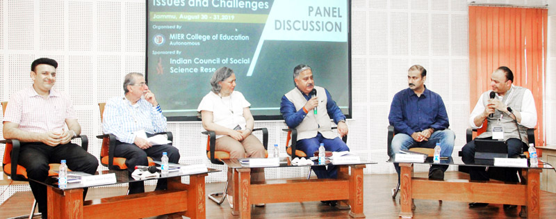 CUJ Vice-Chancellor Prof Ashok Aima expressing views during panel discussion at MIER on Saturday.