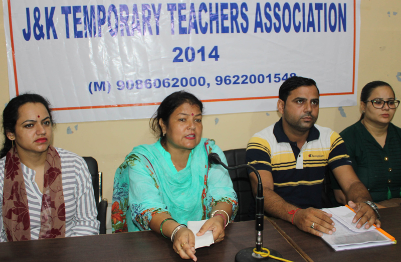 Temporary teachers of 2014 addressing a press conference at Jammu on Saturday. —Excelsior/Rakesh