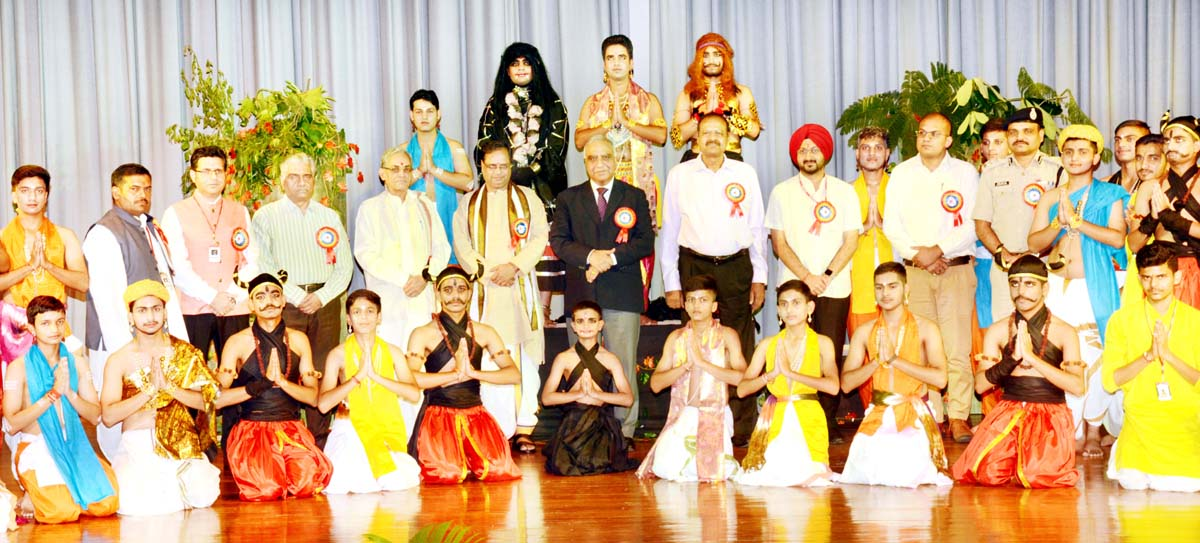 SMVD Gurukul students who staged Sanskrit play at Annual Day Function posing with dignitaries on Saturday.
