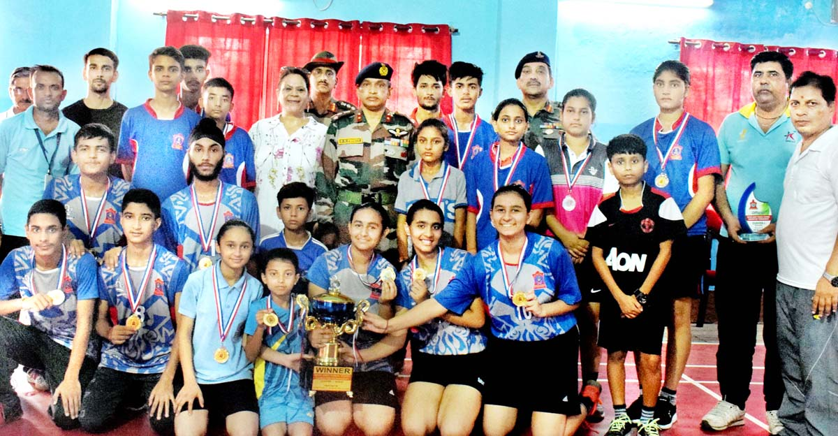 Winners posing along with dignitaries during closing function of Inter-APS Badminton Tournamen.