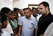 Rahul Gandhi meeting the landslide victims families at Guest House, Kalpetta (Kerala) on August 13, 2019. (They had lost two family members in a landslide at Kuttamangalam Pazhassi Colony, Muttil, Wayanad on 8th August, 2019). (UNI)