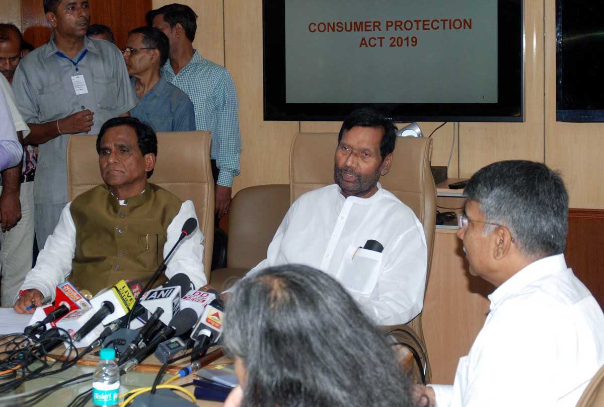 Union Minister of Consumer Affairs, Food and Public Distribution Ram Vilas Paswan holding a press conference on Consumer Protection Bill 2019, which has been passed by both Houses of Parliament, in New Delhi on Tuesday. (UNI)