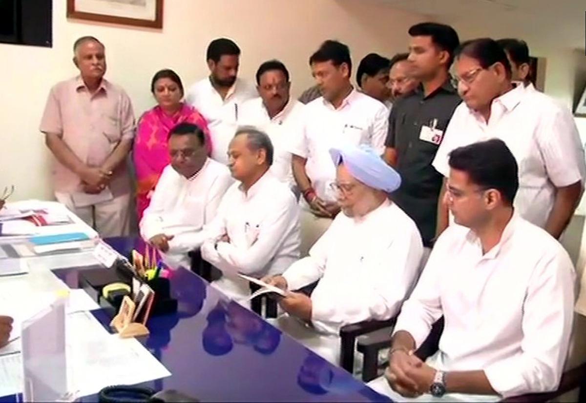 Former PM Manmohan Singh files nomination for Rajya Sabha as Congress candidate, from Rajasthanon Tuesday.