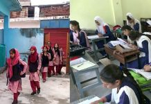 Schools reopen in Poonch (left) and Doda (right) on Monday.