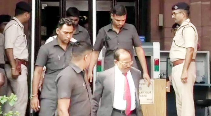 NSA Ajit Doval leaves the Home Ministry after attending a meeting chaired by Home Minister Amit Shah in New Delhi on Monday.