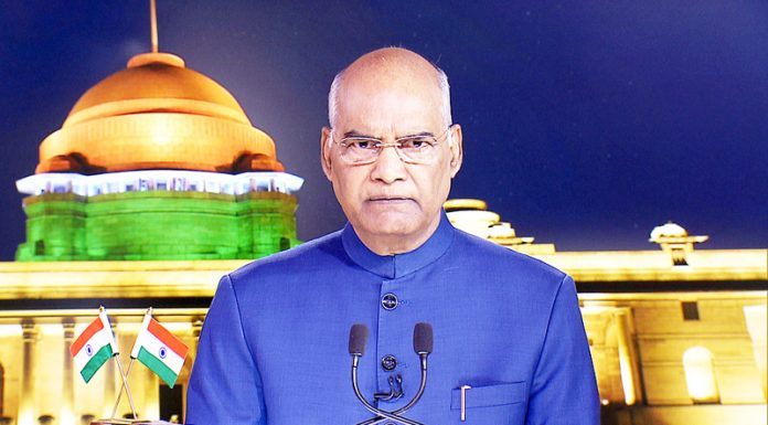 Prsident Ram Nath Kovind addressing the Nation on the eve of 73rd Independence Day in New Delhi on Wednesday.