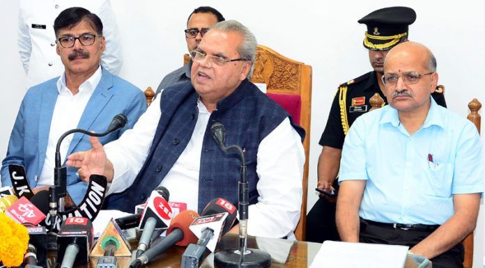 Governor Satya Pal Malik addressing a press conference in Srinagar on Wednesday.