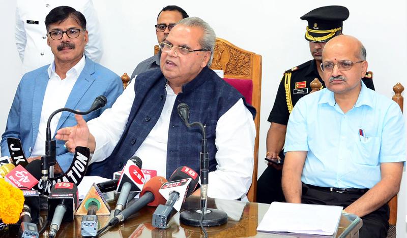 Governor Satya Pal Malik addressing a press conference in Srinagar on Wednesday.