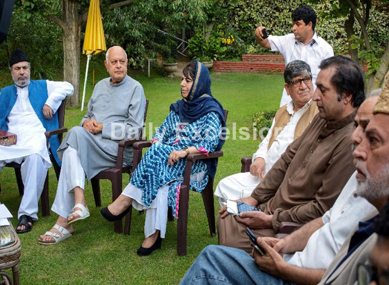 Prominent political leaders at the All Party Meeting in Srinagar on Sunday. —Excelsior/Shakeel