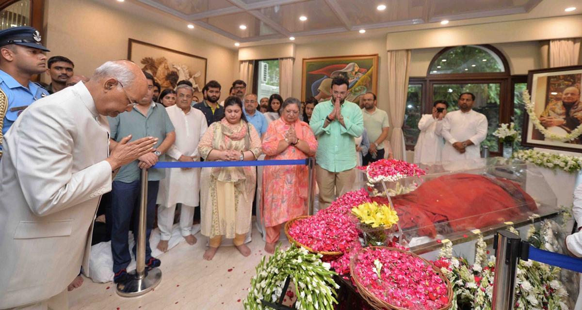 President Ram Nath Kovind pays tributes to BJP stalwart Arun Jaitley in New Delhi on Saturday.