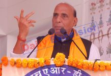 Defence Minister Rajnath Singh addressing a function in Leh on Thursday. —Excelsior/Morup Stanzin