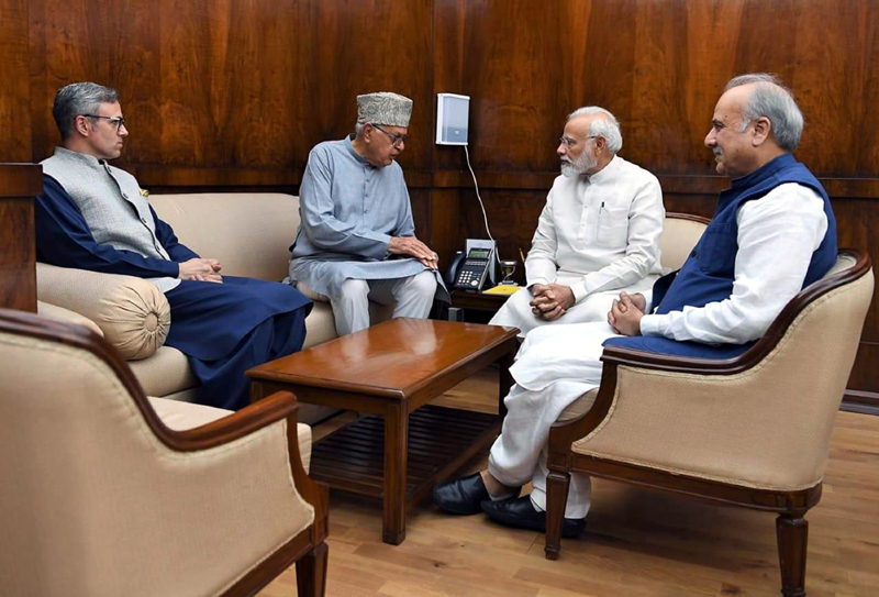 NC delegation during a meeting with Prime Minister Narendra Modi in New Delhi on Thursday.