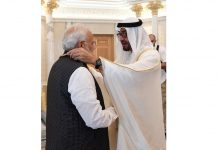 Prime Minister Narendra Modi being conferred with the 'Order of Zayed', UAE's highest civilian award.