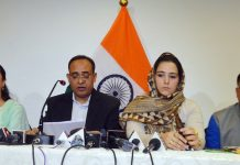 Government spokesman Rohit Kansal and senior officials addressing a press conference in Srinagar on Saturday.