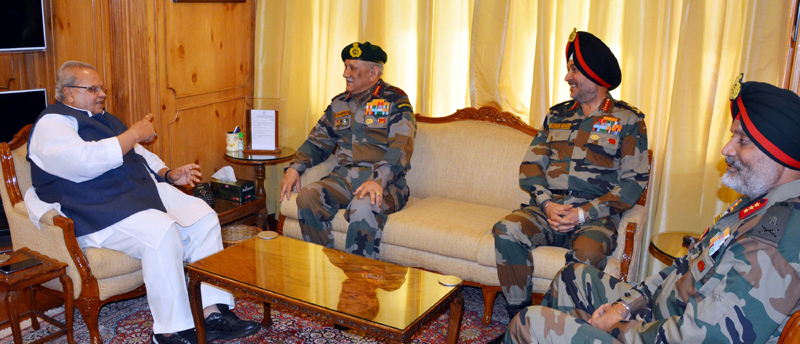 Governor Satya Pal Malik in a meeting with Army chief Gen Bipin Rawat and two top Commanders in Srinagar on Thursday.