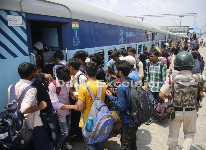 NIT students boarding train at Jammu Tawi Railway Station on