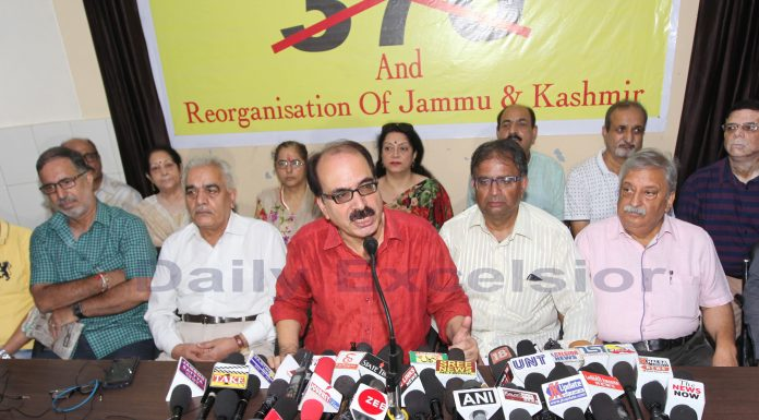 KP leaders at a press conference at Jammu on Thursday. -Excelsior/Rakesh