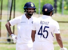 Cheteshwar Pujara and Rohit Sharma during their partnership in warm-up match against West Indies in Antigua.