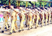 Cadets presenting a crisp display of March Past while celebrating 50th Raising Day at Sainik School Nagrota.