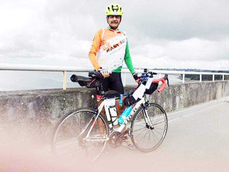 Lieutenant General, Anil Puri after completing France's oldest cycling event.