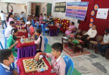 Players in action during Chess competition at Shiksha Niketan School in Jammu.