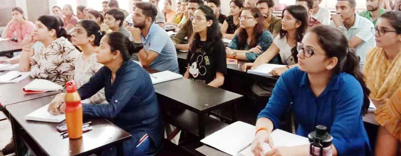 Civil Services aspirants attend workshop on 'Essay Writing' at SRCC Jammu on Sunday.