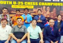 Winners of National Chess Championship and dignitaries posing for group photograph at Jammu on Monday.