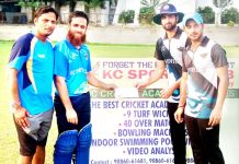 Muneeb Munaf receiving man of the match award at KC Sports Club ground in Jammu on Thursday.