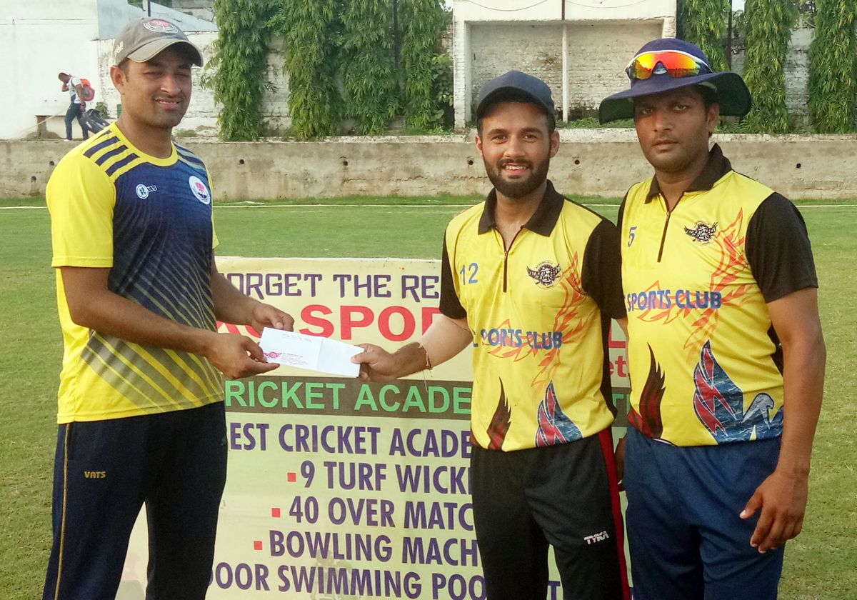 Hisham Saleem receiving man of the match award at KC Sports Club ground in Jammu.