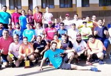 JRG members posing for a group photograph along with their seniors after excelling in '100 days of running' Challenge.