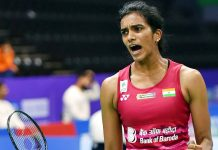 Ace India shuttler PV Sindhu while progressing to the semifinals of the BWF World Championships in Basel on Friday.