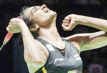 PV Sindhu celebrating her victory after clinching gold in Badminton World Championship at Basel Switzerland on Sunday.