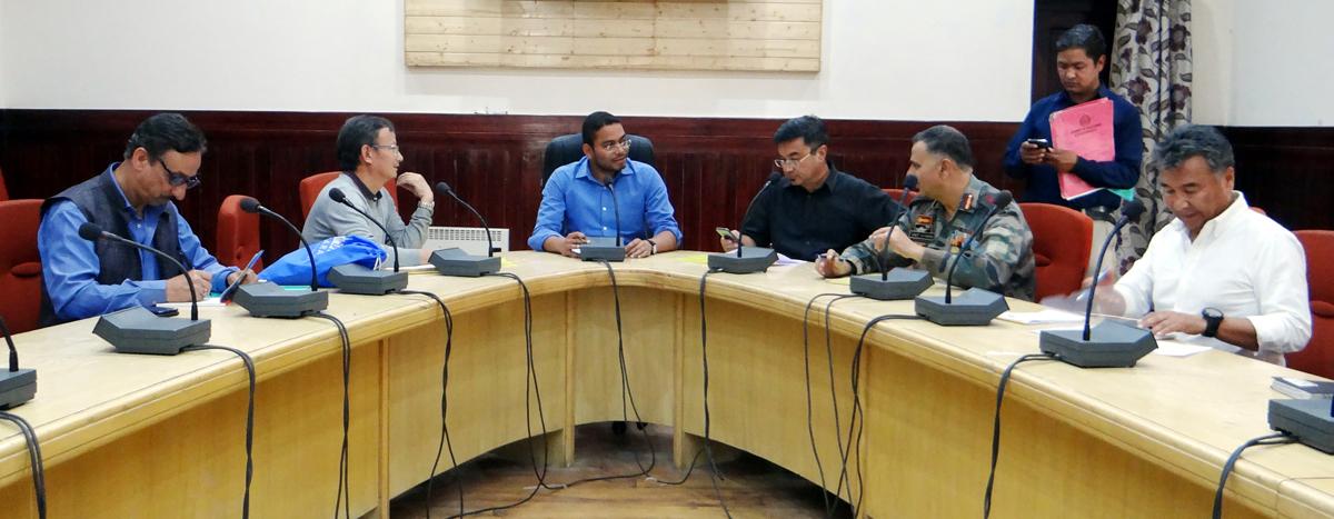Deputy Commissioner & Chief Executive Officer, LAHDC, Leh Sachin Kumar Vaishya convening a meeting for Ladakh Marathon on Thursday.