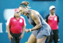 Serena Williams of the United States celebrating victory against Ekaterina Alexandrova of Russia during the third round of Women's singles match at the 2019 Rogers Cup in Toronto, Canada.