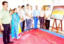 Dignitaries after inaugurating National Art Festival at Jammu on Friday.
