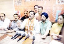 Shiv Sena J&K General Secretary, Manish Sahni addressing a press conference at Jammu on Friday.