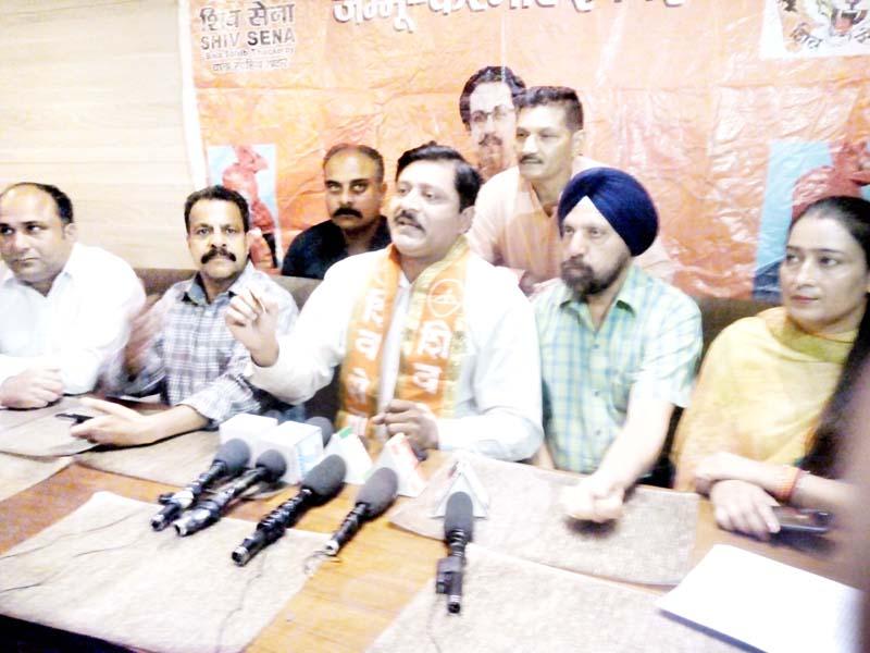 Shiv Sena J&K General Secretary, Manish Sahni addressing a press conference at Jammu on Friday.