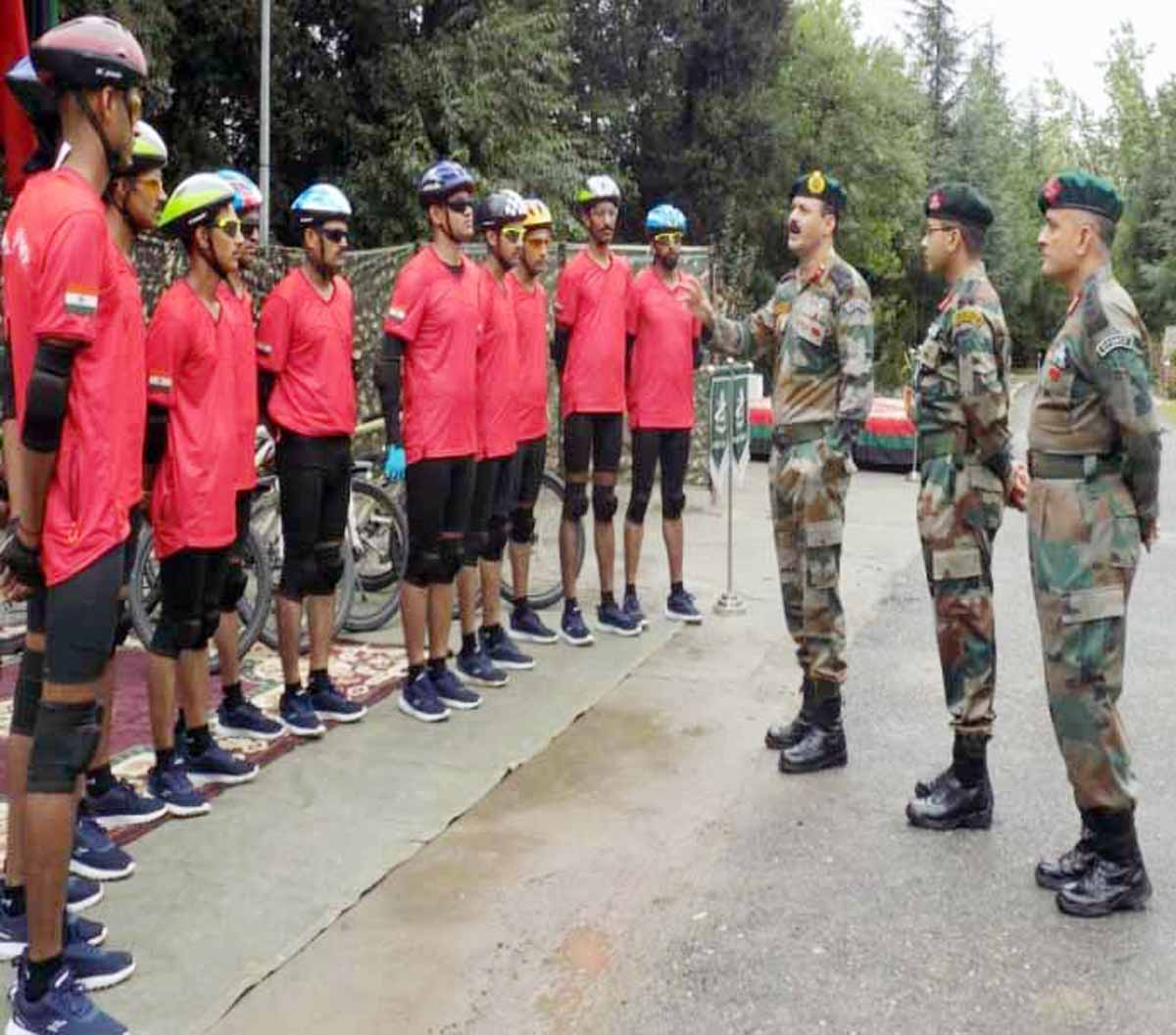 Army Officers interacting with cyclists during Chenab Valley Cycling Expedition on Wednesday.