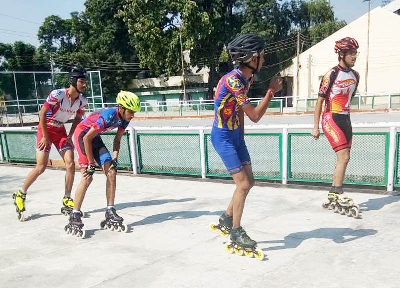 Skaters on a roll during District Level Inter-School competitions Jammu.