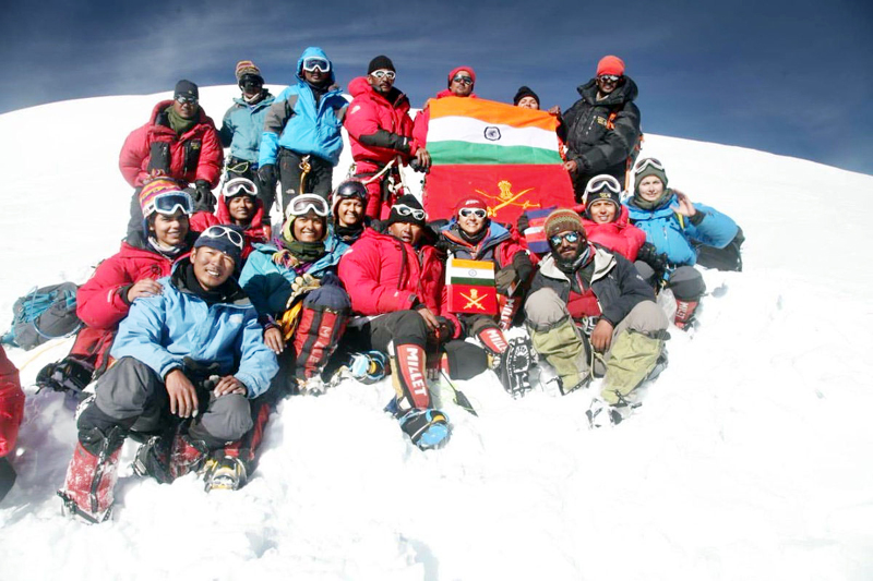 Indian Army mountaineering team posing for group photograph.