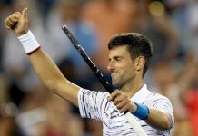 Djokovic celebrating victory in ATP Cincinnati Masters.