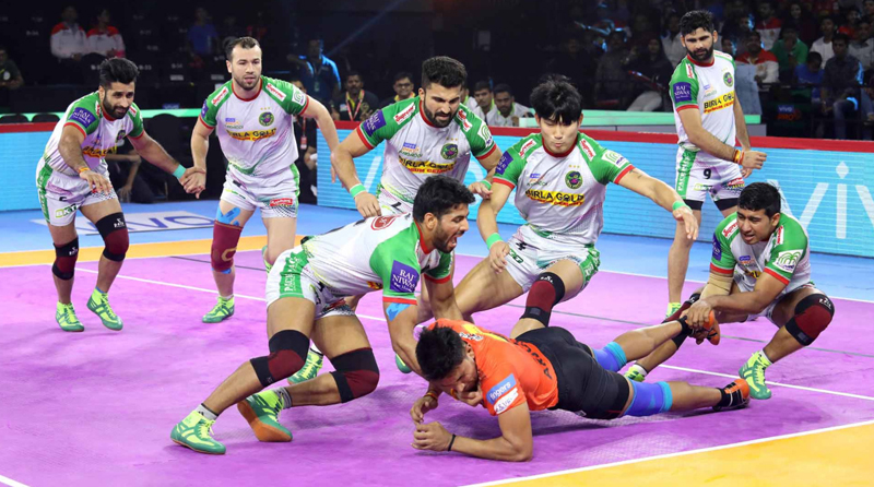 Players in action during Pro Kabaddi League in Ahmedabad on Friday.